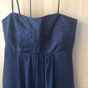 Navy beaded bubble evening gown